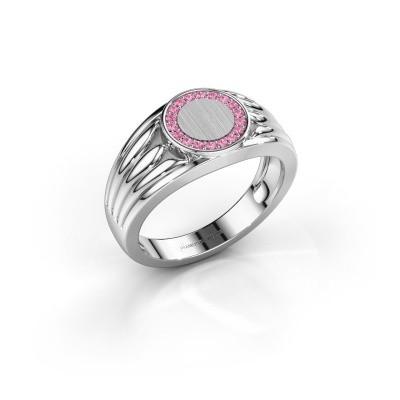 Foto van Pinkring Jacobus 375 witgoud roze saffier 1.2 mm