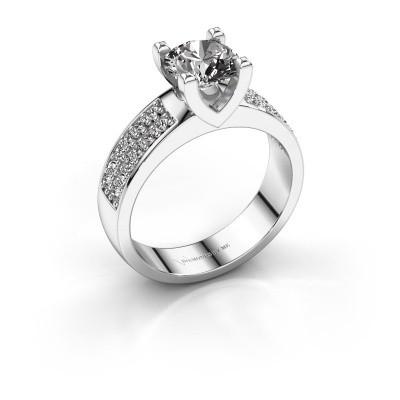 Aanzoeksring Isabella 3 585 witgoud diamant 1.360 crt