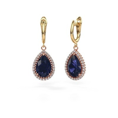 Picture of Drop earrings Hana 1 585 rose gold sapphire 12x8 mm