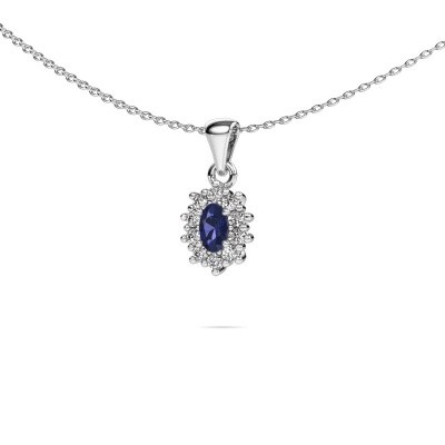 Picture of Necklace Leesa 950 platinum sapphire 6x4 mm