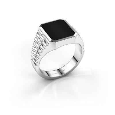 Foto van Rolex stijl ring Brent 2 585 witgoud onyx 12x10 mm