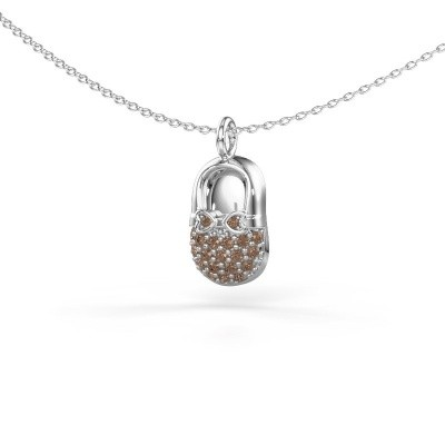 Picture of Pendant Babyshoe 925 silver brown diamond 0.193 crt