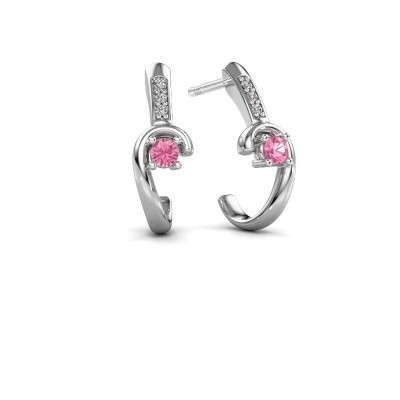 Picture of Earrings Ceylin 925 silver pink sapphire 2.5 mm