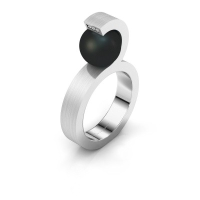 Foto van Ring Juana 925 zilver zwarte parel 9 mm