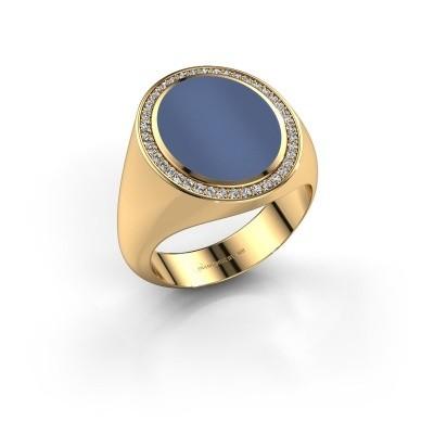 Foto van Zegelring Adam 4 750 goud blauw lagensteen 14x11 mm