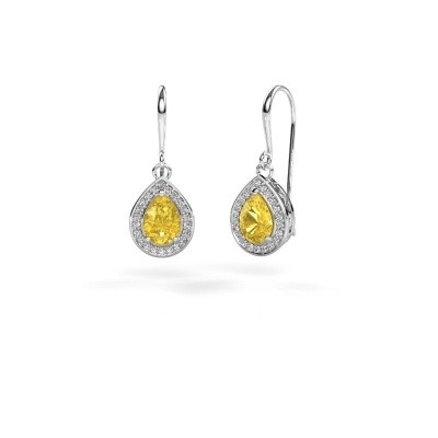 Picture of Drop earrings Beverlee 1 950 platinum yellow sapphire 7x5 mm