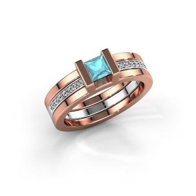Foto van Ring Desire 585 rosé goud blauw topaas 4 mm