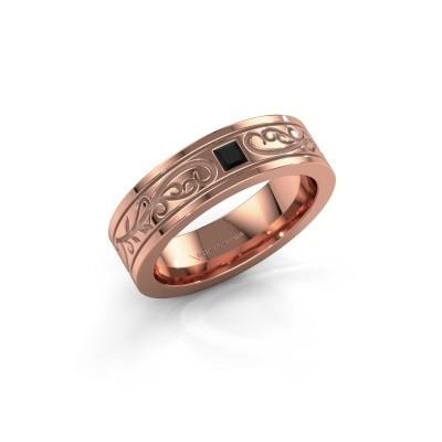Foto van Heren ring Matijs 375 rosé goud zwarte diamant 0.204 crt