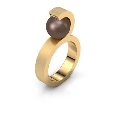 Foto van Ring Juana 375 goud bruine parel 9 mm