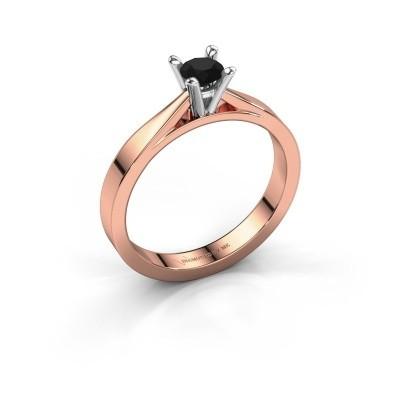Foto van Aanzoeksring Catrina 585 rosé goud zwarte diamant 0.30 crt