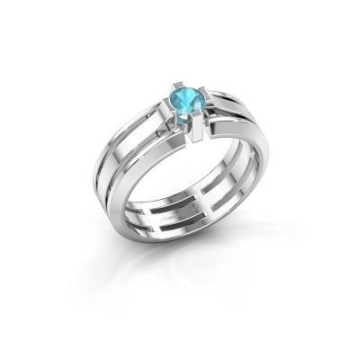 Foto van Heren ring Sem 950 platina blauw topaas 4.7 mm