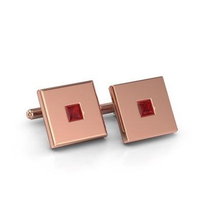 Foto van Manchetknopen Givanti 750 rosé goud robijn 4 mm