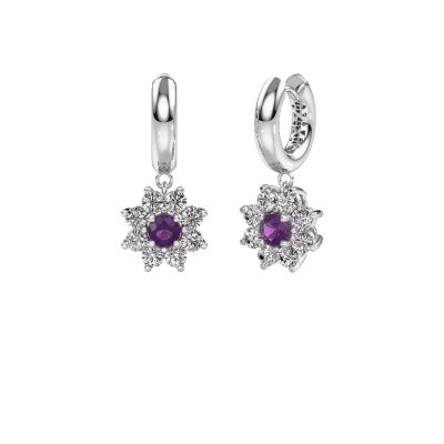 Picture of Drop earrings Geneva 1 585 white gold amethyst 4.5 mm