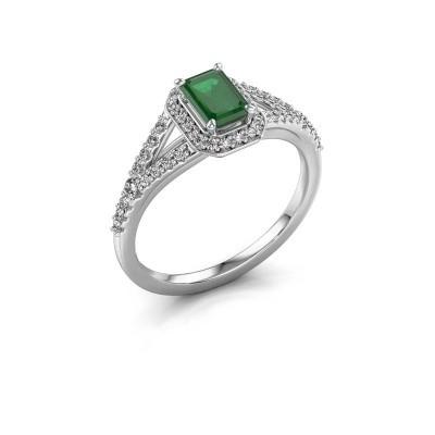 Verlovingsring Pamela EME 585 witgoud smaragd 6x4 mm