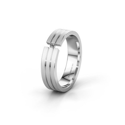 Trouwring WH0402L15AM 585 witgoud diamant ±5x1.7 mm