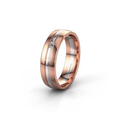 Trouwring WH0420L25X 585 rosé goud diamant ±5x1.5 mm