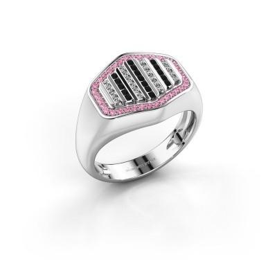 Foto van Heren ring Beau 585 witgoud roze saffier 1 mm