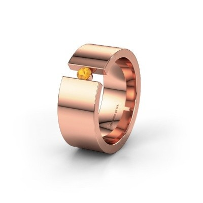 Trouwring WH0146L18BP 585 rosé goud citrien ±8x2 mm