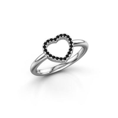 Foto van Ring Heart 7 585 witgoud zwarte diamant 0.132 crt