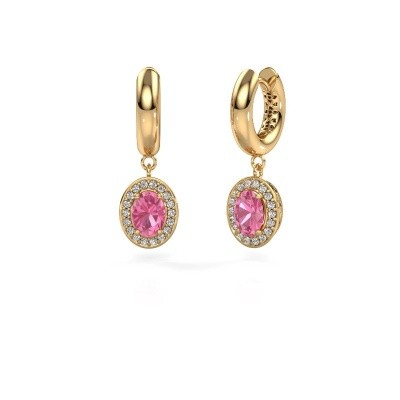 Picture of Drop earrings Annett 585 gold pink sapphire 7x5 mm