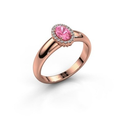 Engagement ring Tamie 585 rose gold pink sapphire 6x4 mm