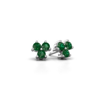 Picture of Stud earrings Shirlee 925 silver emerald 3 mm