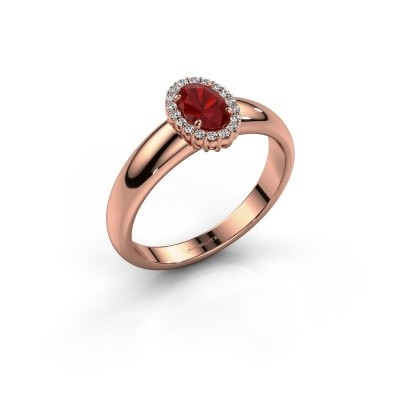 Engagement ring Tamie 585 rose gold ruby 6x4 mm