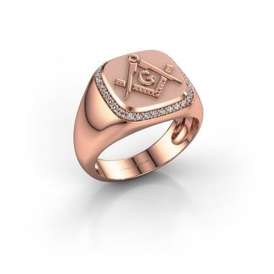 Foto van Heren ring Johan 585 rosé goud zirkonia 1.2 mm