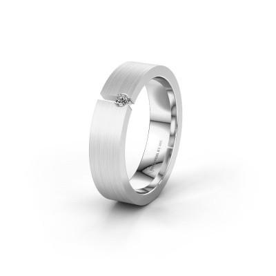 Trouwring WH0120L15BM 585 witgoud diamant ±5x2 mm