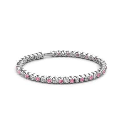 Foto van Tennisarmband Asley 585 witgoud roze saffier 3 mm