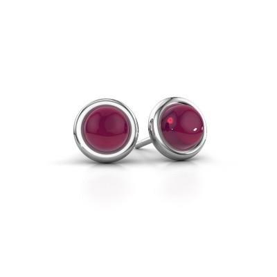 Picture of Stud earrings Jodi 925 silver rhodolite 6 mm