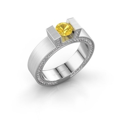 Picture of Ring Leena 2 585 white gold yellow sapphire 5 mm