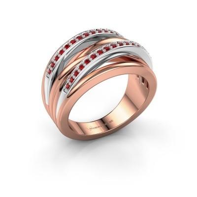 Foto van Ring Annabel 2 585 rosé goud robijn 1.2 mm