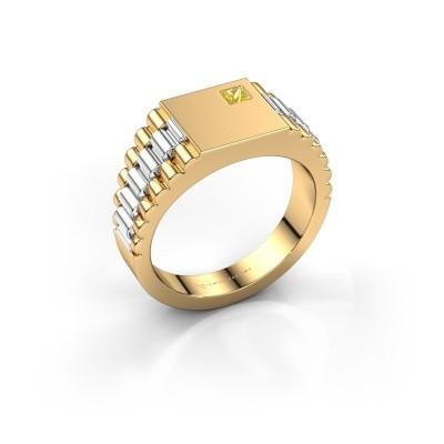 Foto van Rolex stijl ring Pelle 585 goud gele saffier 3 mm