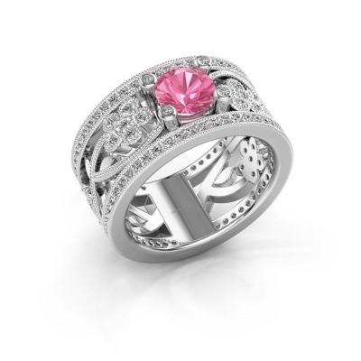 Foto van Ring Severine 950 platina roze saffier 6 mm