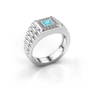 Foto van Rolex stijl ring Zilan 585 witgoud blauw topaas 4 mm