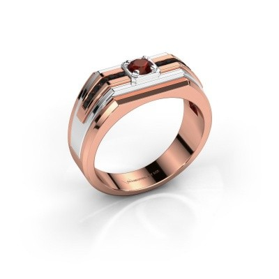 Foto van Heren ring Oliver 585 rosé goud granaat 4 mm
