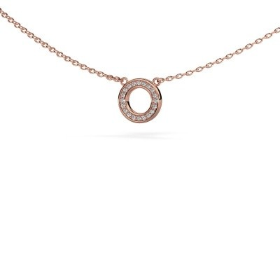 Picture of Pendant Round 2 375 rose gold zirconia 0.8 mm