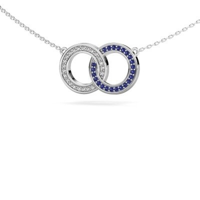Picture of Necklace Circles 1 585 white gold sapphire 1 mm