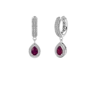 Picture of Drop earrings Barbar 2 950 platinum rhodolite 6x4 mm