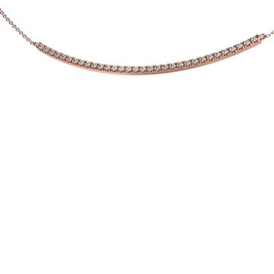 Picture of Bar necklace Simona 375 rose gold zirconia 1.5 mm
