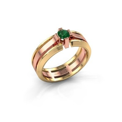 Foto van Heren ring Sem 585 rosé goud smaragd 4.7 mm