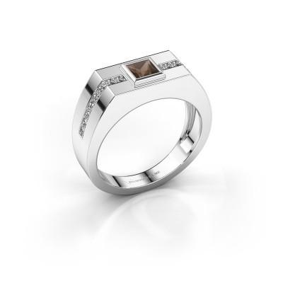 Foto van Heren ring Robertus 2 585 witgoud rookkwarts 4 mm