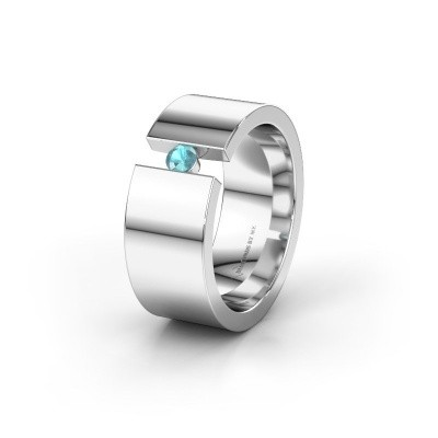 Trouwring WH0146L18BP 585 witgoud blauw topaas ±8x2 mm