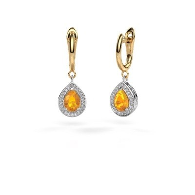 Picture of Drop earrings Ginger 1 585 white gold citrin 7x5 mm