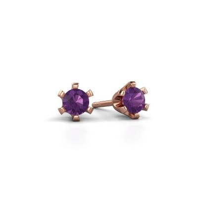 Picture of Stud earrings Shana 585 rose gold amethyst 4 mm