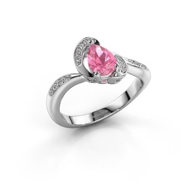 Foto van Ring Jonelle 585 witgoud roze saffier 7x5 mm