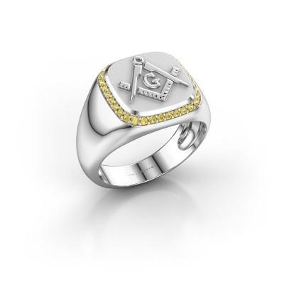 Foto van Heren ring Johan 950 platina gele saffier 1.2 mm