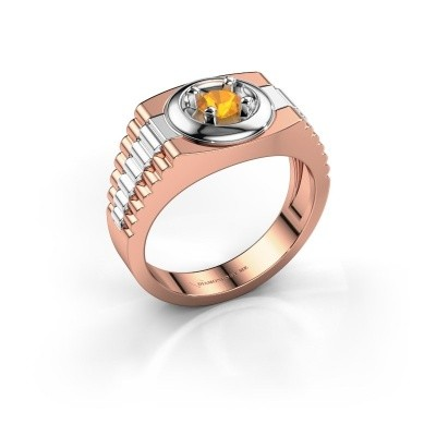 Foto van Rolex stijl ring Edward 585 rosé goud citrien 4.7 mm