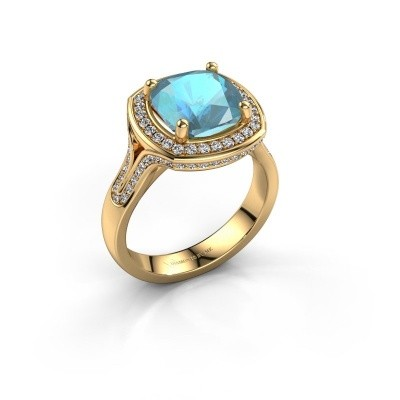 Foto van Ring Lili 375 goud blauw topaas 9 mm